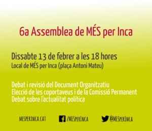 Convocatòria i documentació de la VI Assemblea de MÉS per Inca