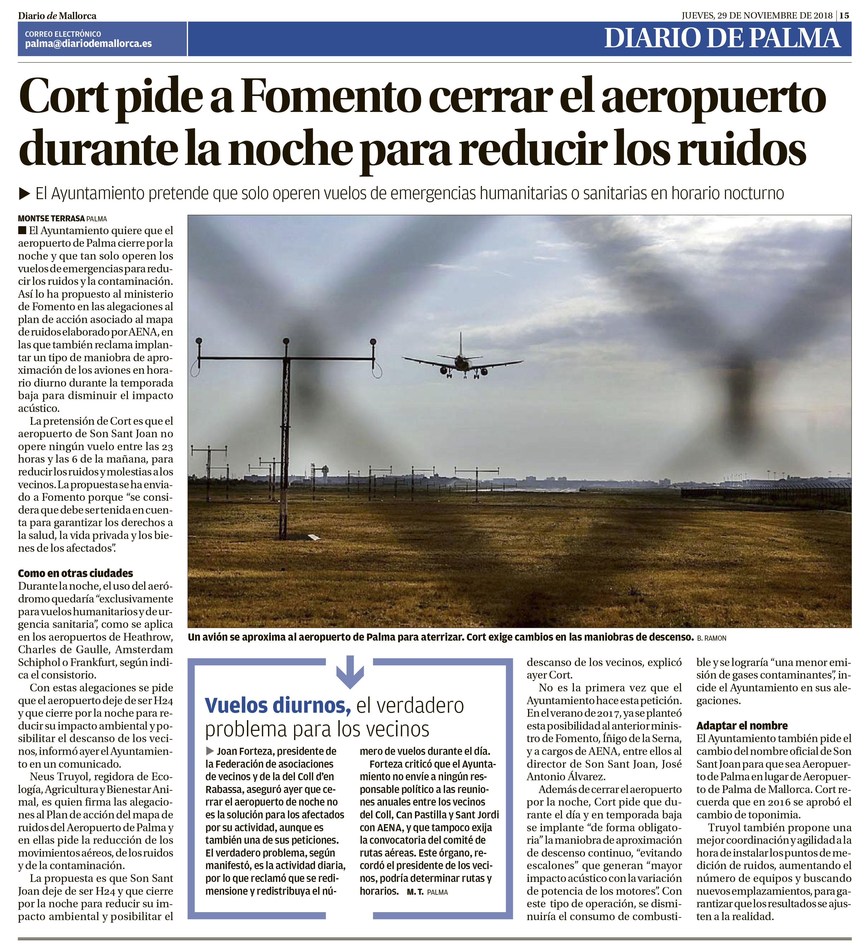 Ressò de la petició del tancament nocturn de les operacions aèries a l'Aeroport de Palma